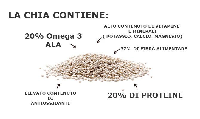semi di chia proprietà e contenuto nutrizionale grafica